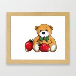 Teddy Bear With Strawberries, Illustration Framed Art Print