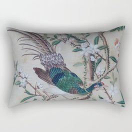 Antique Chinoiserie with Bird Rectangular Pillow