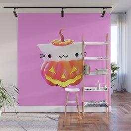 Pumpkin Cat Wall Mural