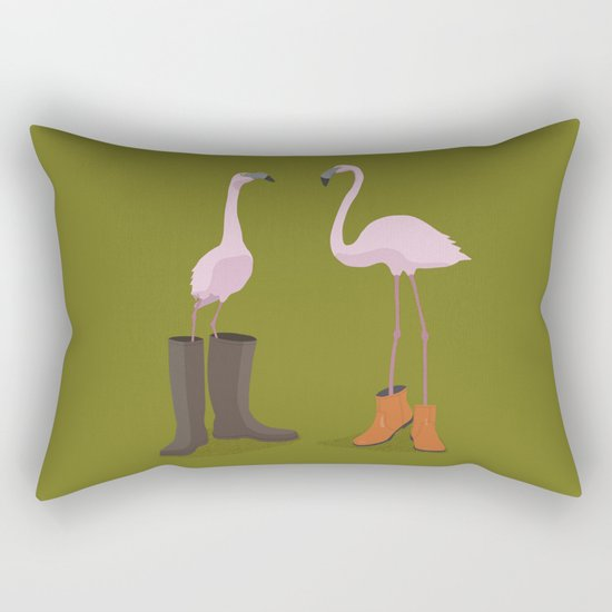 Fashion Flamingos Rectangular Pillow