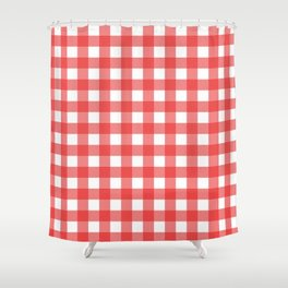 Red white gingham Shower Curtain