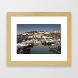 Bristol Boats and Coloured Houses Framed Art Print