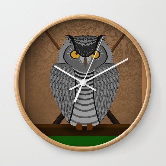 owl playing billiards Wall Clock