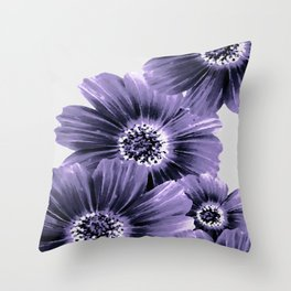 Daisies floral in soft lavender hues Throw Pillow