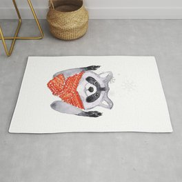 Racoon and snowflakes Rug