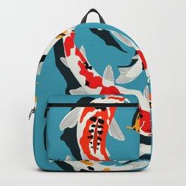 Colorful Koi Carps Swimming Around Backpack