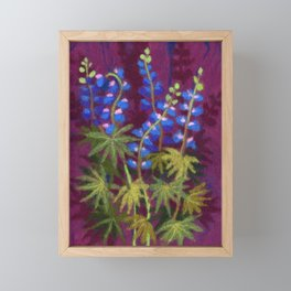 Lupines, Wild Flowers, Fiber Art, Wool Painting Framed Mini Art Print