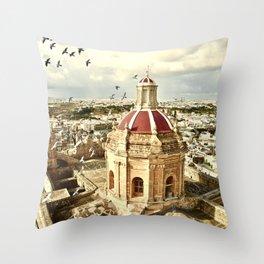 An aerial shot of the Parish Church of Saint Catherine, Zejtun Malta Throw Pillow