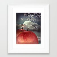 roald dahl Framed Art Prints featuring Climbing towards the heavens - From James and the Giant Peach - By Roland Dahl by Karen Watson