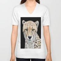 cheetah V-neck T-shirts featuring Cheetah by Lynn Bolt