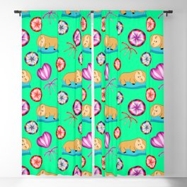 Funny sleeping baby sloths and sweet vintage retro candy lollipops cute nursery pattern Blackout Curtain