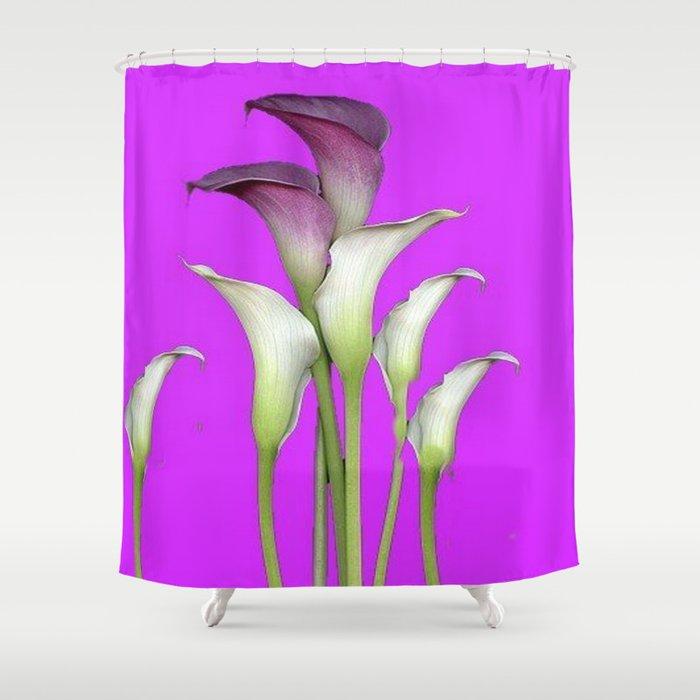 WHITE CALLA LILIES PURPLE VIOLET DECORATIVE ART Shower Curtain