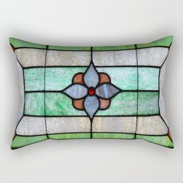 Stained Glass features a picture of a classic stained glass window typically found above a door Rectangular Pillow