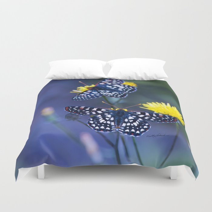 The Checkerspot Couple Duvet Cover