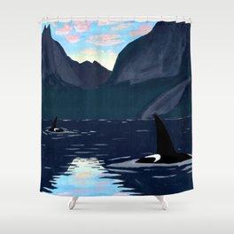 killer whales, lofoten islands Shower Curtain