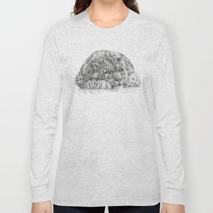 Pensive Snow Leopard  Long Sleeve T-shirt