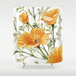 California Poppies - Watercolor Painting Shower Curtain