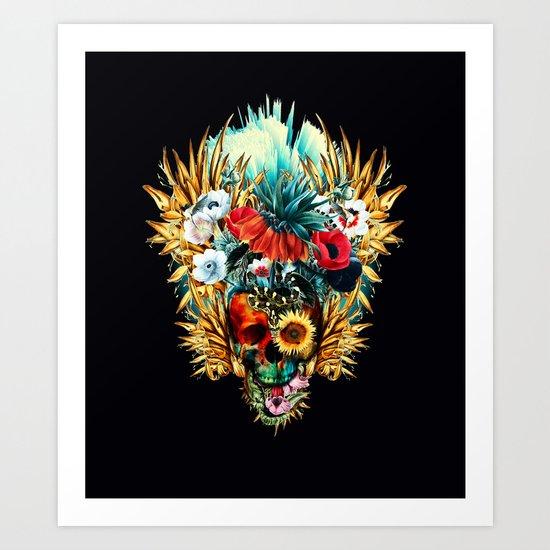 Floral Skull Vivid Art Print