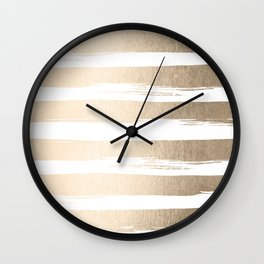 White Gold Sands Painted Thick Stripes Wall Clock