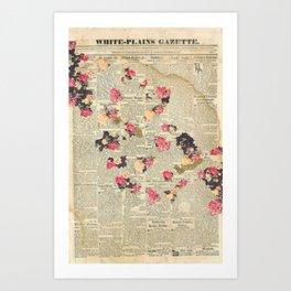 VINTAGE FLOWER COLLAGE Art Print