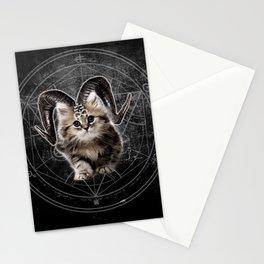 Cat Kitty Black Dark Satanic Satan 666 Hell Horns Cross Stationery Cards