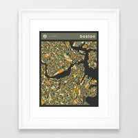 boston map Framed Art Prints featuring BOSTON MAP by Jazzberry Blue