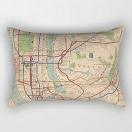 New York City Metro Subway System Map 1954 Rectangular Pillow