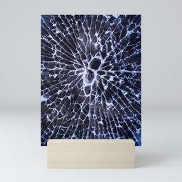 Abstract Art of Broken Glass Close up shot in dark background Mini Art Print