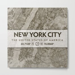 Vintage Antique-Styled Map of New York City Beige, Brown Chic Metal Print