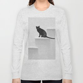 Black cat on steps Long Sleeve T-shirt