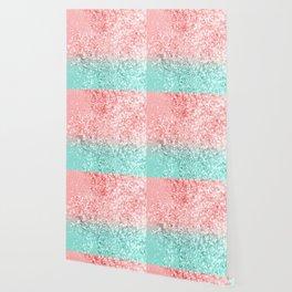 Summer Vibes Glitter #3 #coral #mint #shiny #decor #art #society6 Wallpaper