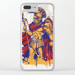 An illustration of a warrior character or sports mascot Clear iPhone Case