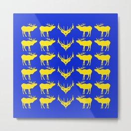 Graphic Swedish Elk on Blue Metal Print