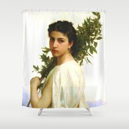 """William-Adolphe Bouguereau """"Laurel Branch"""" Shower Curtain"""