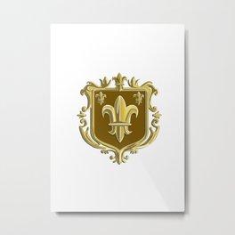 Fleur de lis Coat of Arms Gold Crest Retro Metal Print