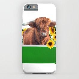 Highland cow - green Bathtub - sunflower blossoms iPhone Case
