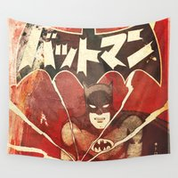 manga Wall Tapestries featuring Bat Man (Manga) by Fernando Vieira