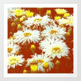 ABSTRACT GARDEN WHITE SHASTA DAISIES ON CHOCOLATE BROWN ART Art Print