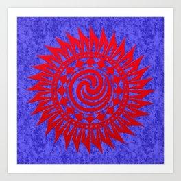 winzah red mandala Art Print