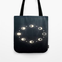 moon phases Tote Bags featuring Moon Phases by Sweet Colors Gallery