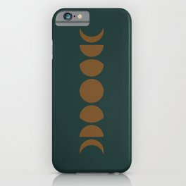 Minimal Moon Phases - Deep Green iPhone Case