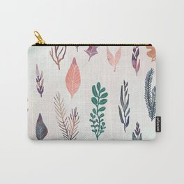 Mix of plants and watercolor leaves Carry-All Pouch