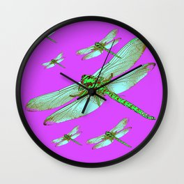 PANTENE ULTRA VIOLET PURPLE EMERALD DRAGONFLIES ART Wall Clock