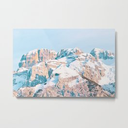 Closeup view or snow-dusted mountains Metal Print