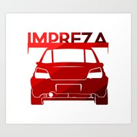 subaru Art Prints featuring Subaru Impreza - classic red - by Vehicle