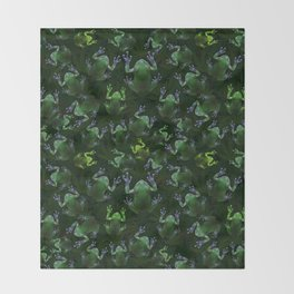 Frogs On Weed Throw Blanket