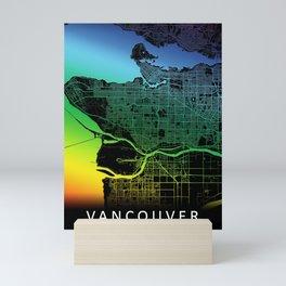 Vancouver, BC, Canada,Rainbow City Map Mini Art Print