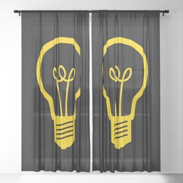 Yellow Lightbulb Sheer Curtain