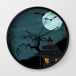 Halloween Spooky Scary House Moon Bats Tree Night Wall Clock