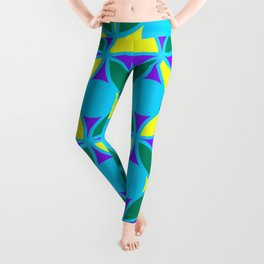 Geometric Floral Circles Vibrant Color Challenge In Bold Purple Yellow Green & Turquoise Blue Leggings